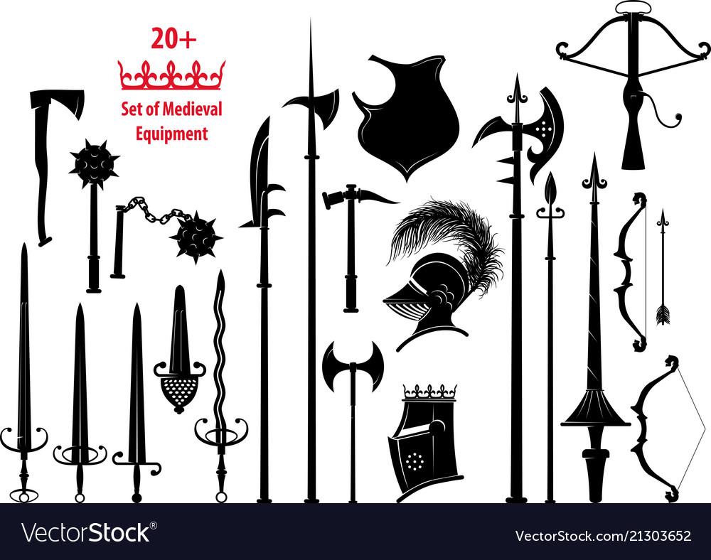 Set of medieval equipment