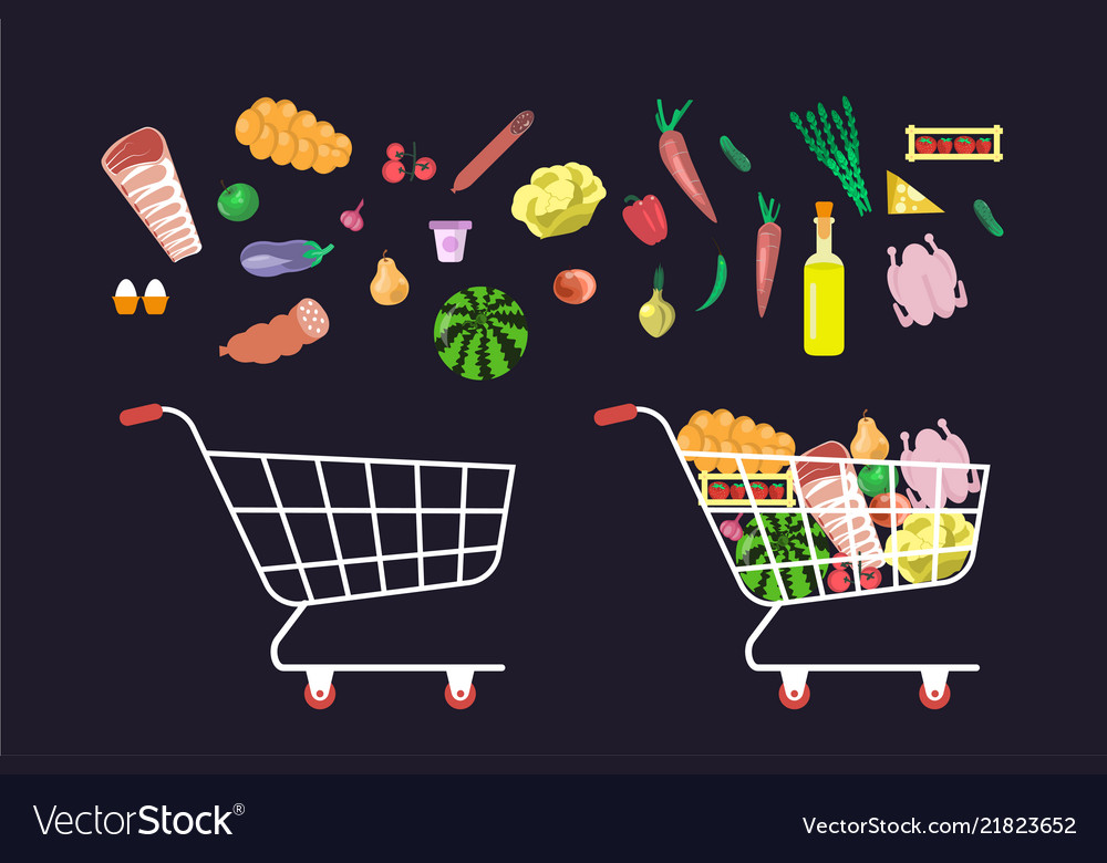 Shop trolley and products