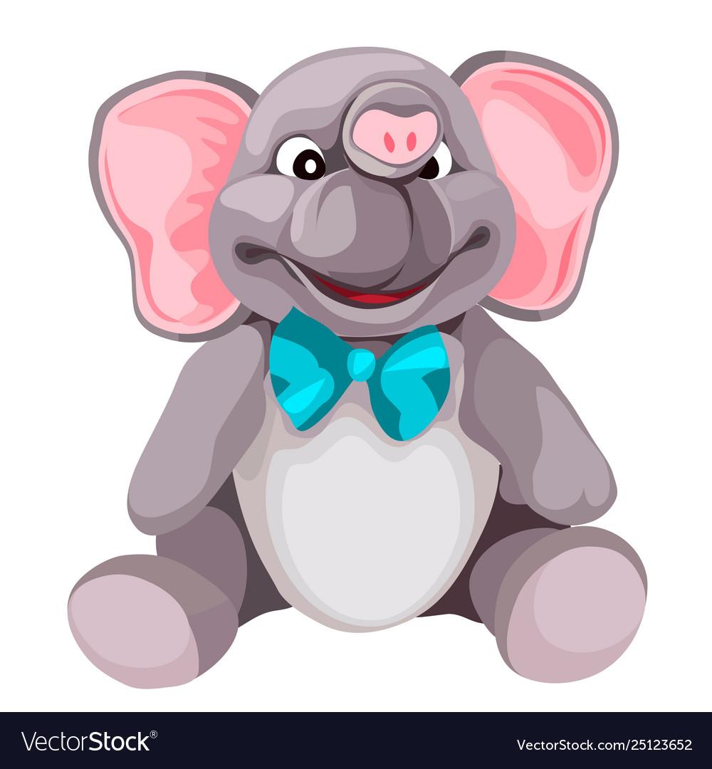 Soft plush grey elephant toy isolated on white