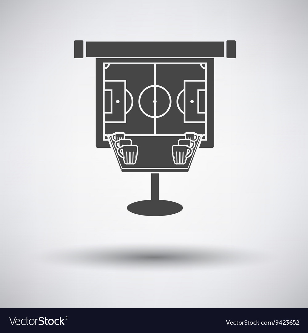 Sport bar table with mugs of beer and football vector image