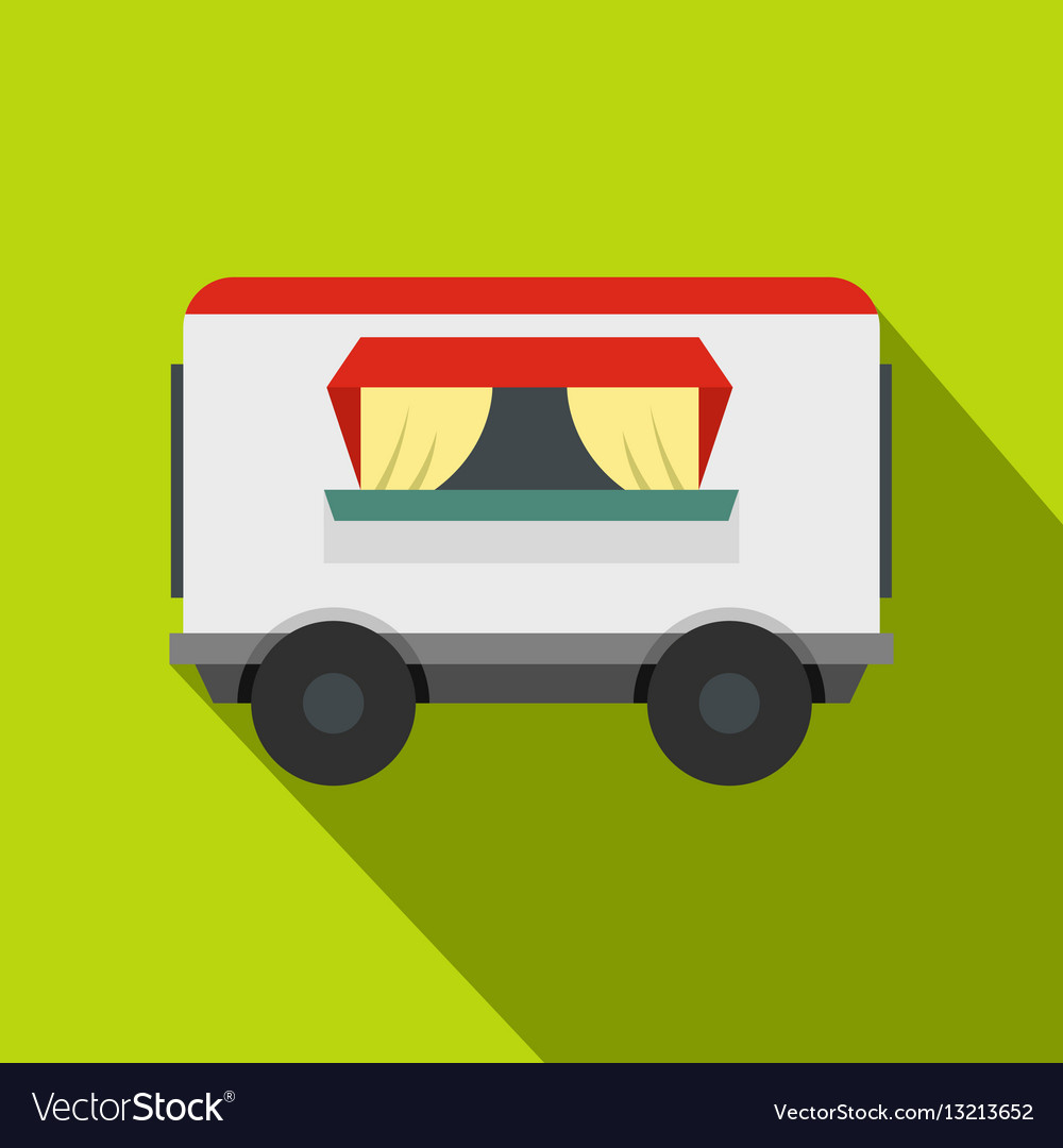 Street food trailer icon flat style vector image