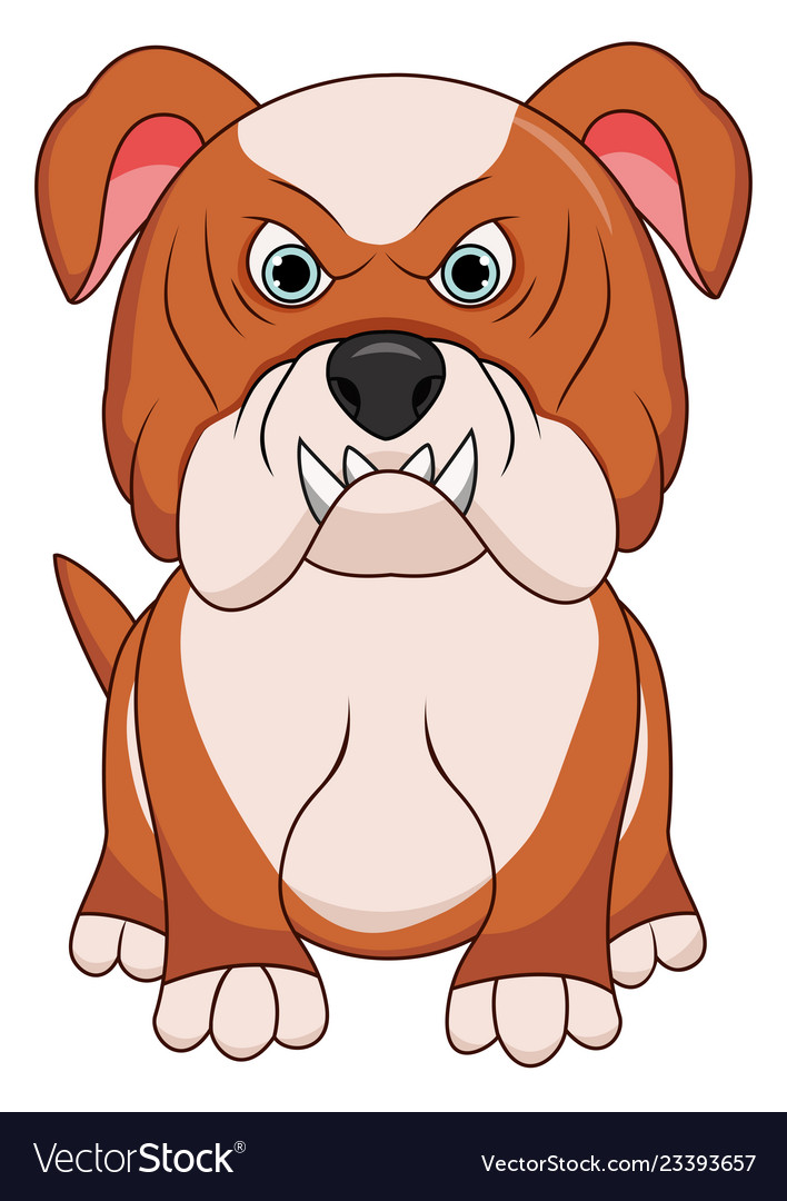 Angry bulldog dog cartoon