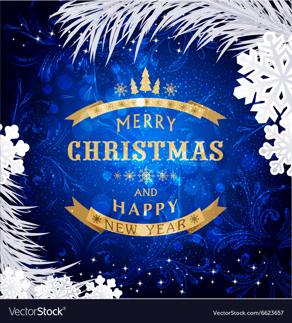 blue christmas background with silver snowflakesan vectorstock