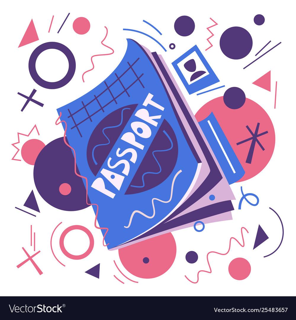 Cartoon passport air travel concept flat