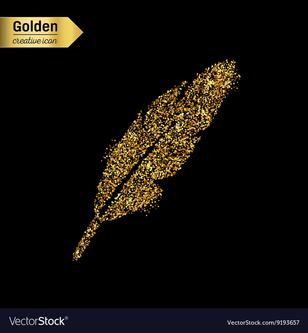 e12e837d572 Gold glitter icon of goose quill isolated Vector Image