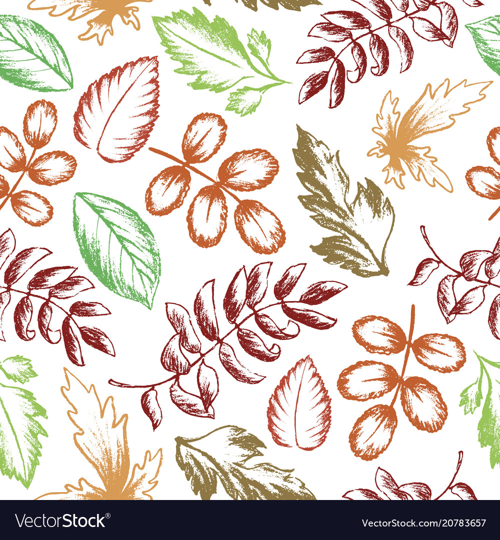 Leaves seamless pattern hand drawn sketch