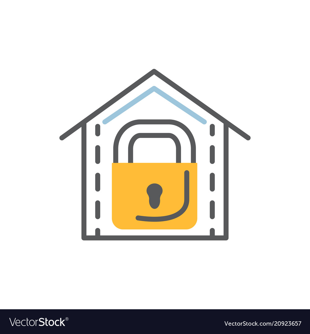Lock icon flat and line modern