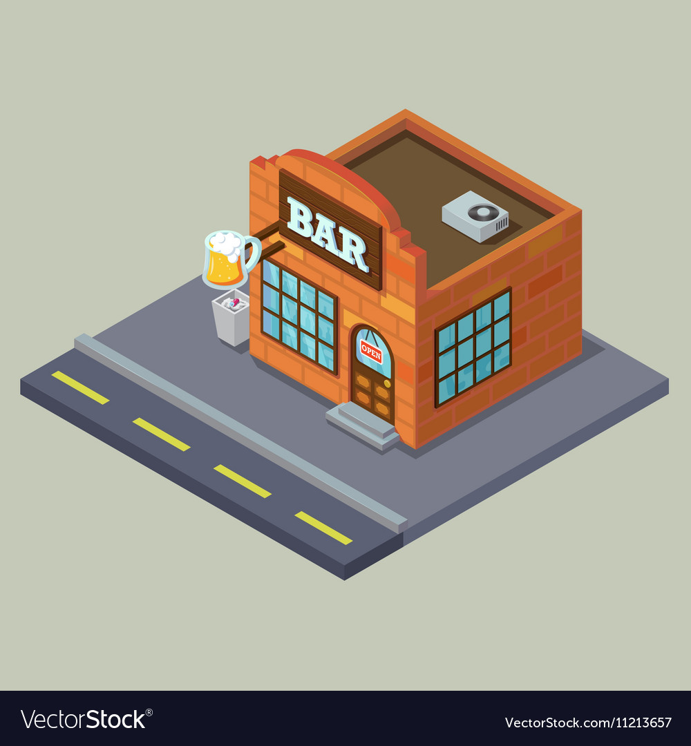 Old vintage city bar with beer cup Isometric 3D