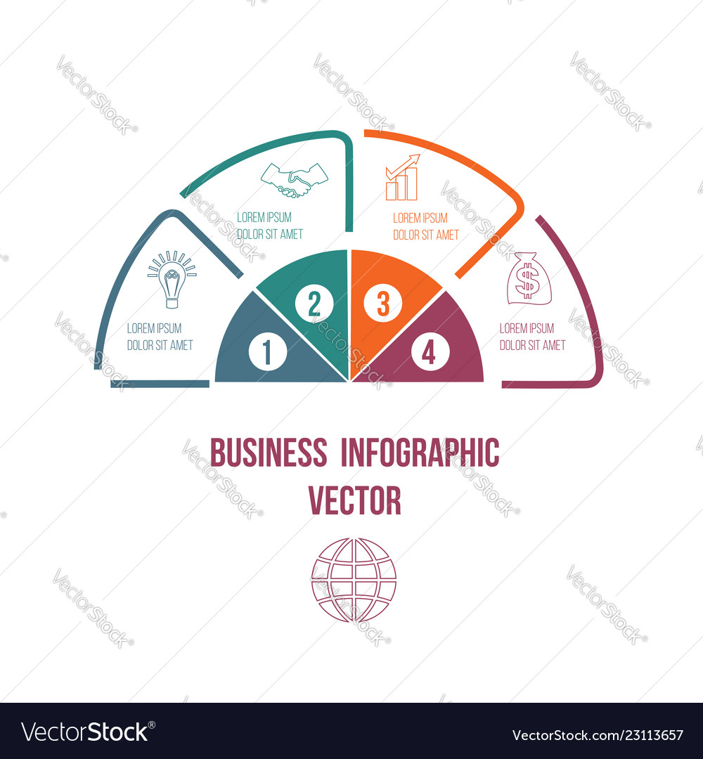 Pie chart infographic colourful lines with text