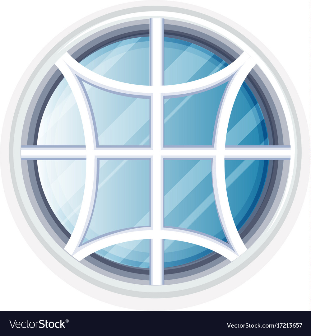Round window with white frame vector image