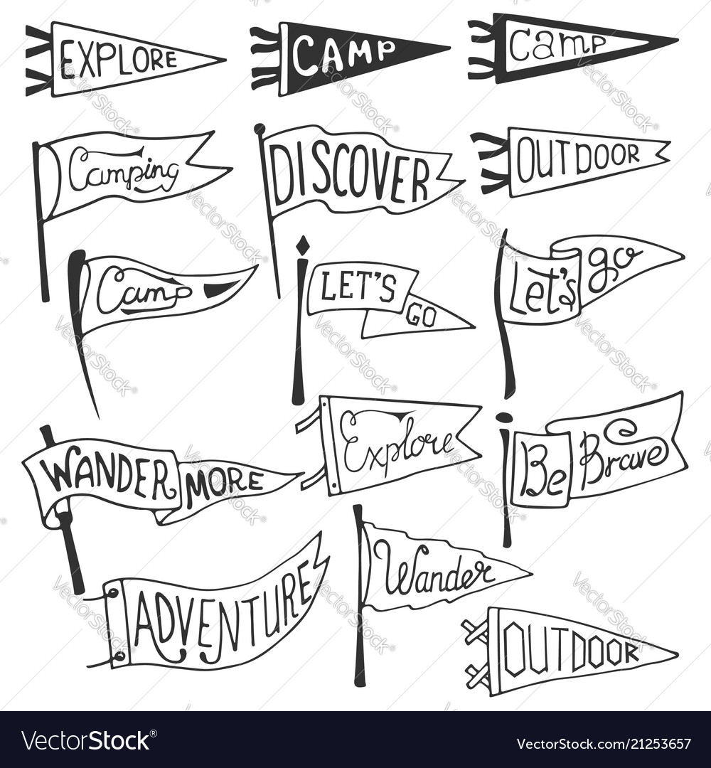 Set of adventure outdoors camping pennants