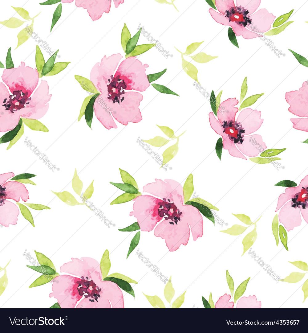 Spring flowers seamless pattern Watercolor