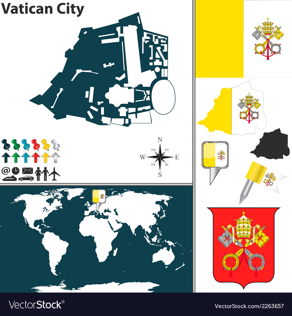 Vatican City On World Map.Vatican City Map Vector Image