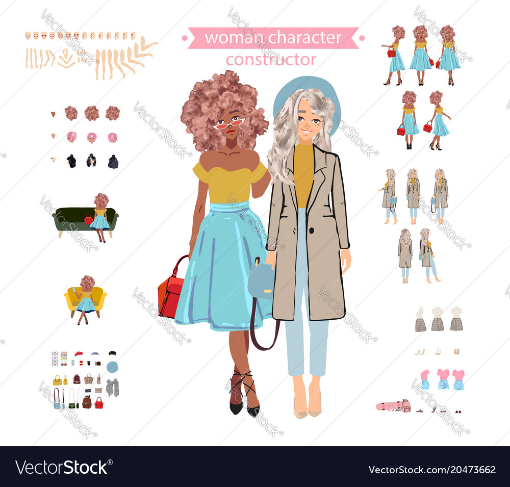 Animate woman character young lady personage