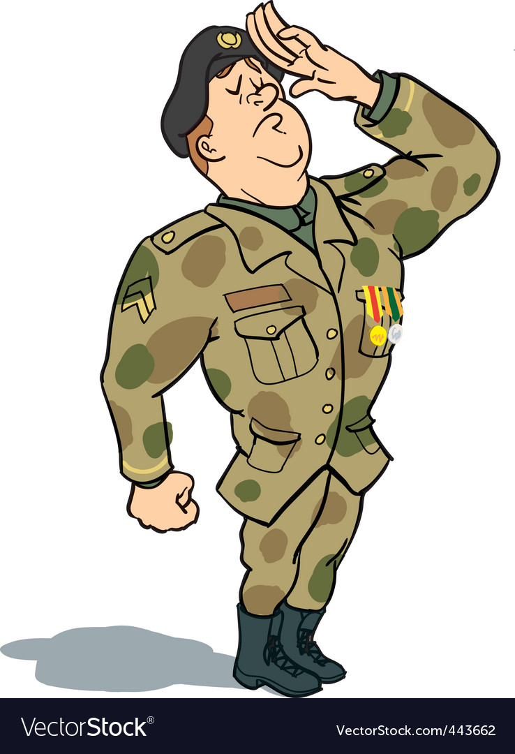 Cartoon Army Man Saluting