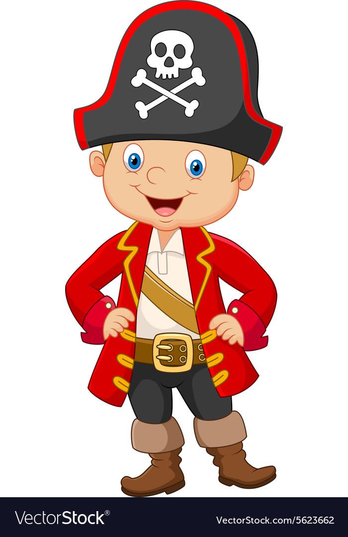 cartoon little boy pirate captain royalty free vector image