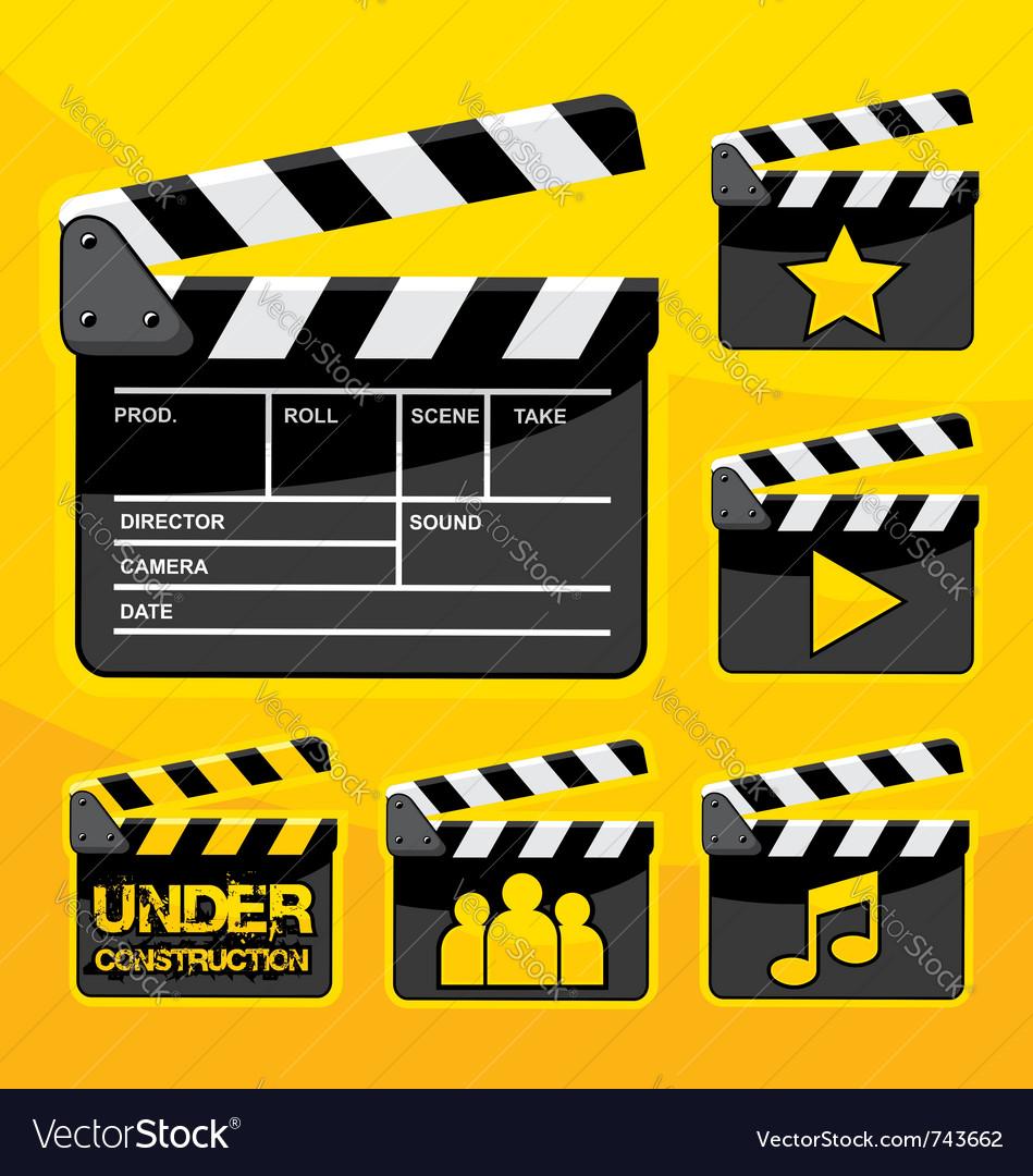 Clapboard icon set vector image