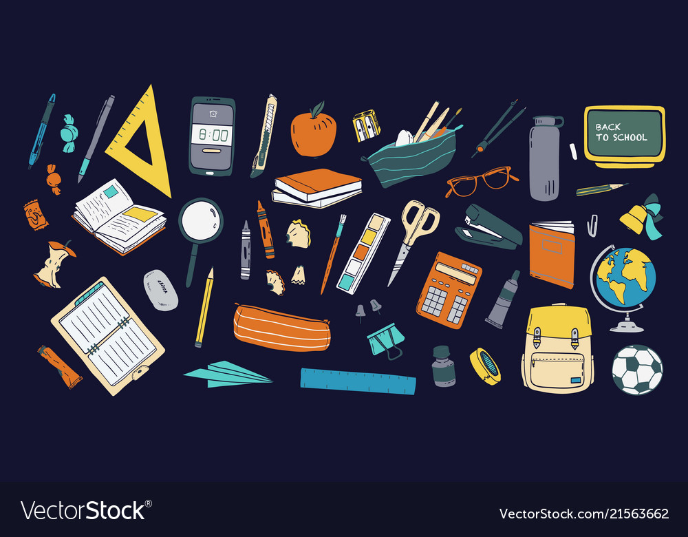 Collection school stationery and tools