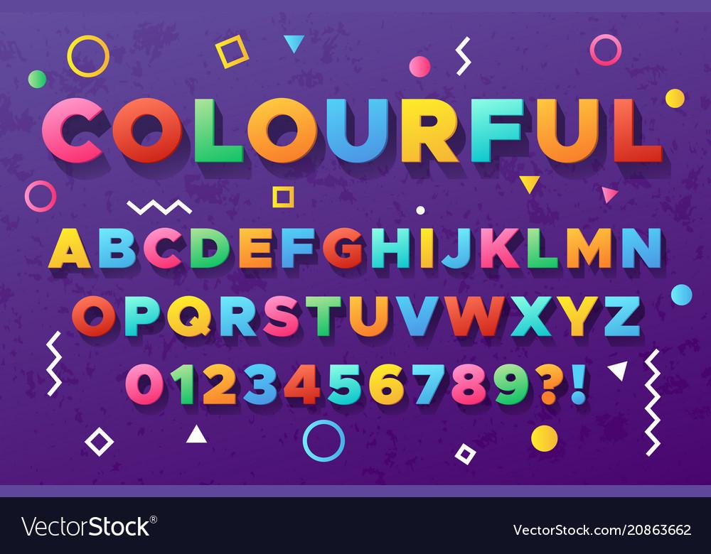 Colourful bold alphabet urban old vivid color