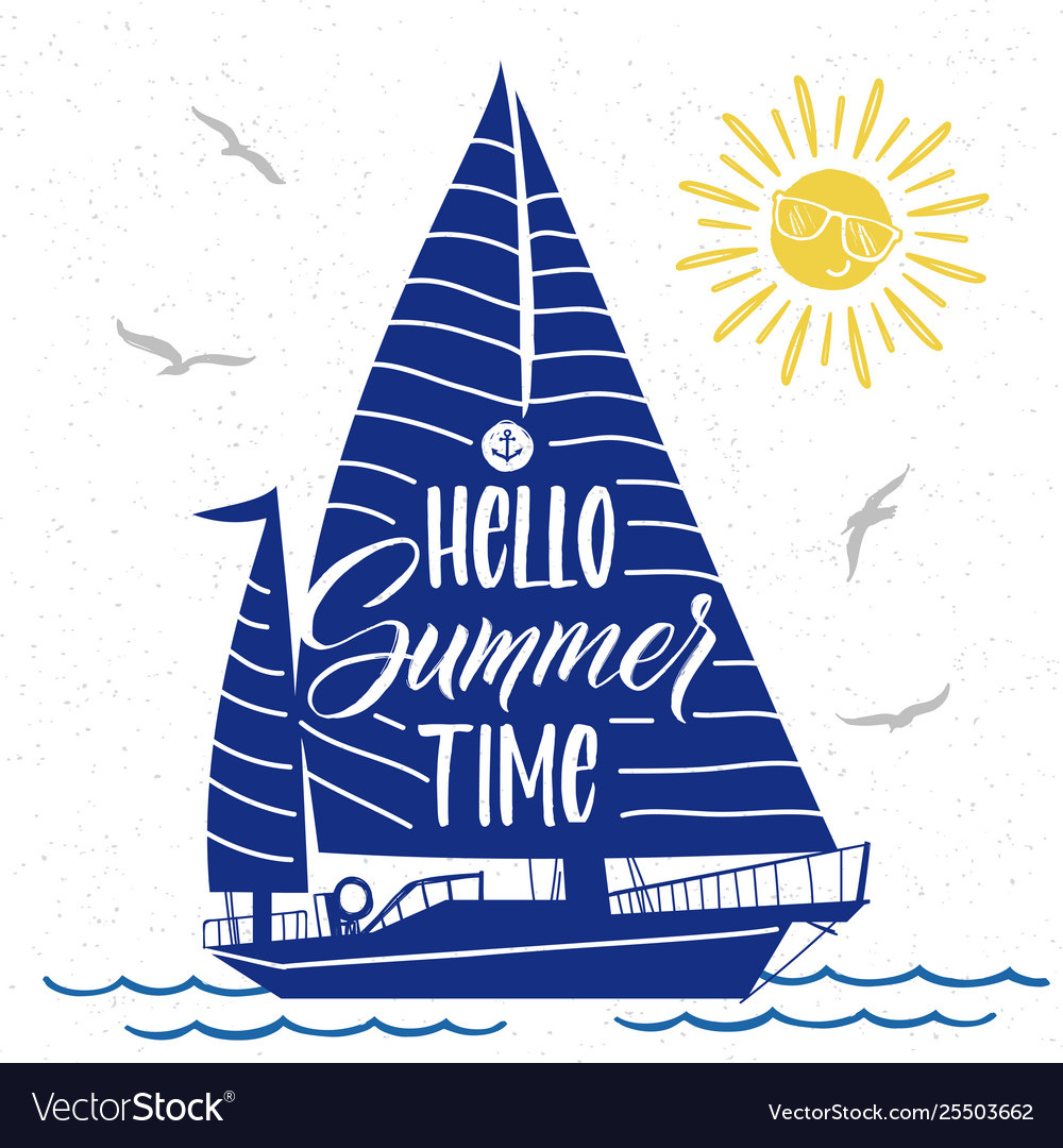 Cute summer poster with boat silhouette