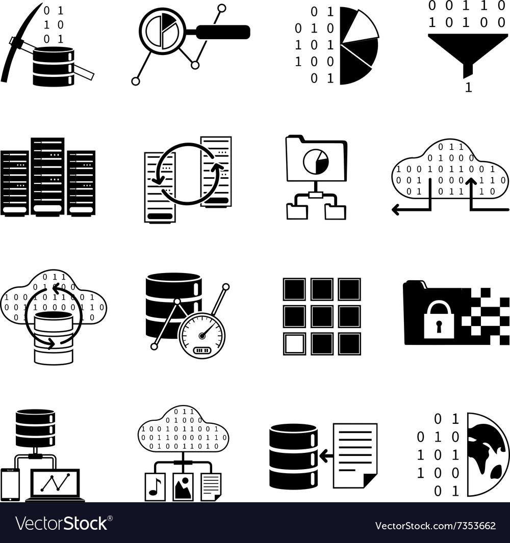Data Processing Black Icons