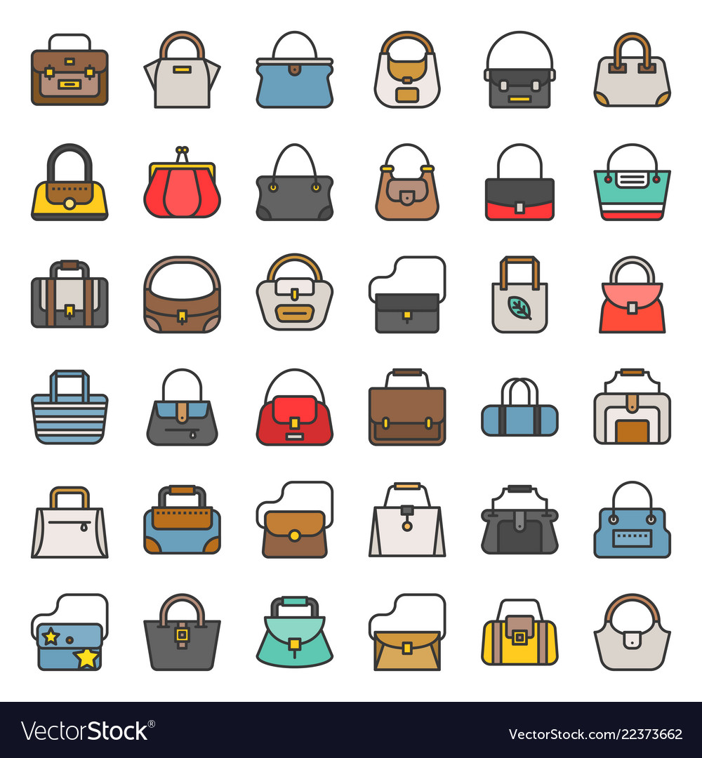 Fashion bag filled outline icon in various style