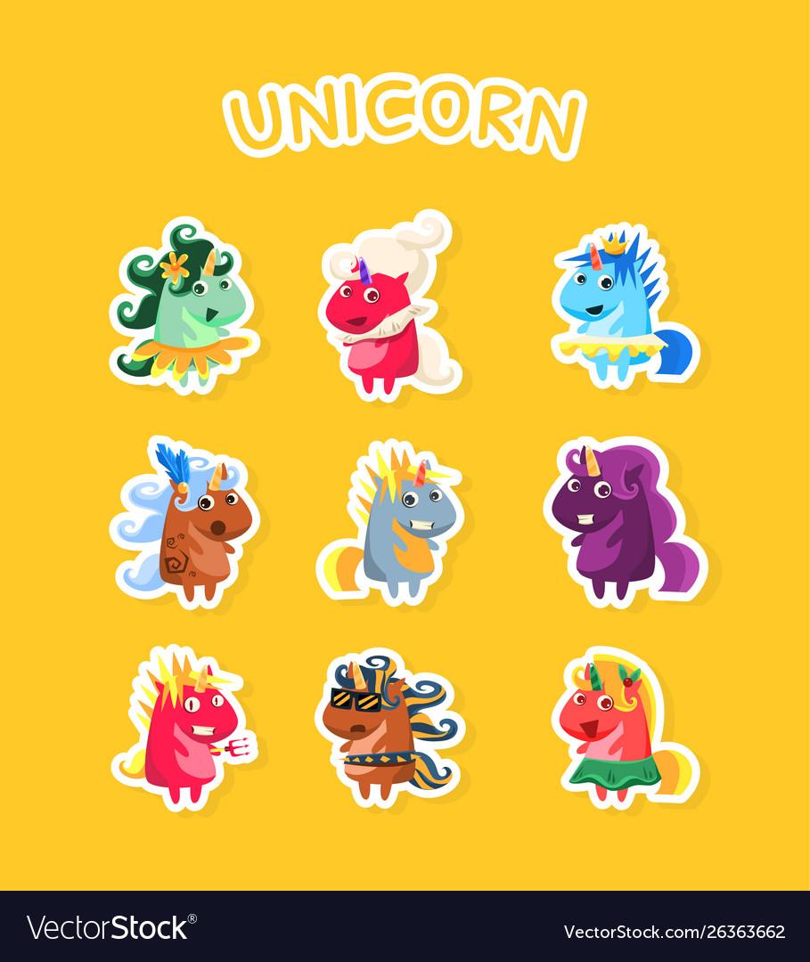 Funny cartoon magic unicorns stickers set fashion