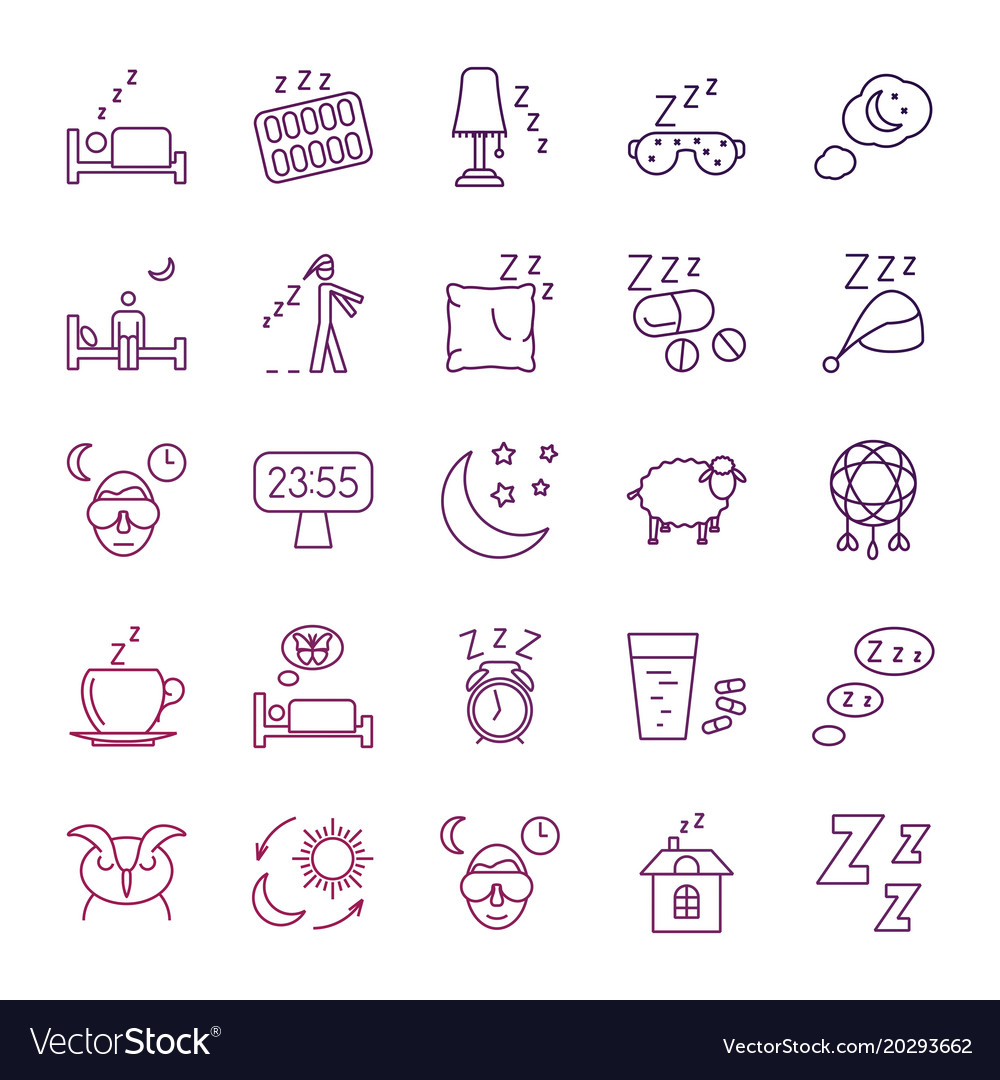 Insomnia problems and sleeping line icons set