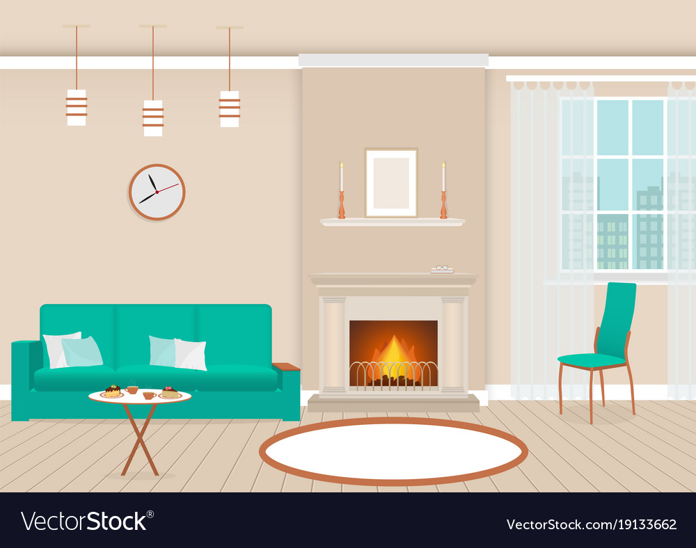 Living room interior with fireplace and furniture