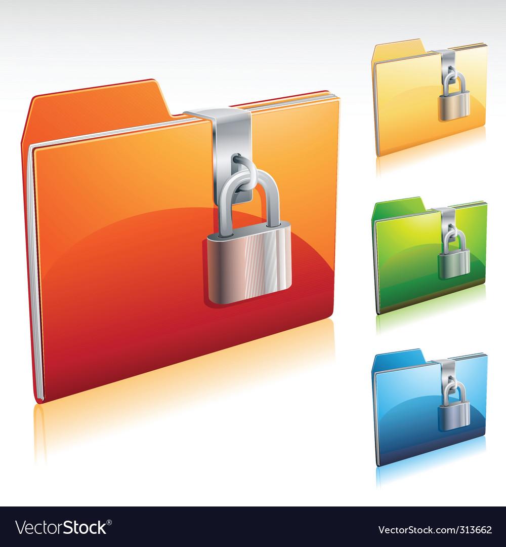 Locked folder icon vector image