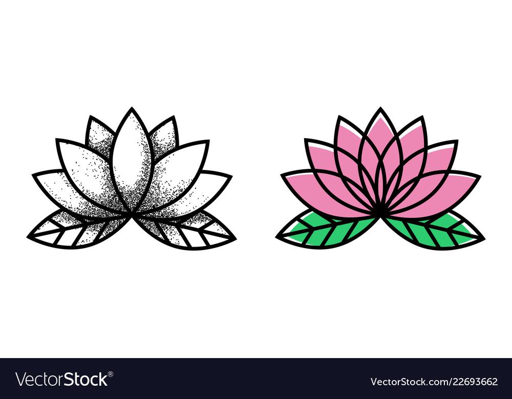 Lotos tattoo flower tattoo traditional black dot