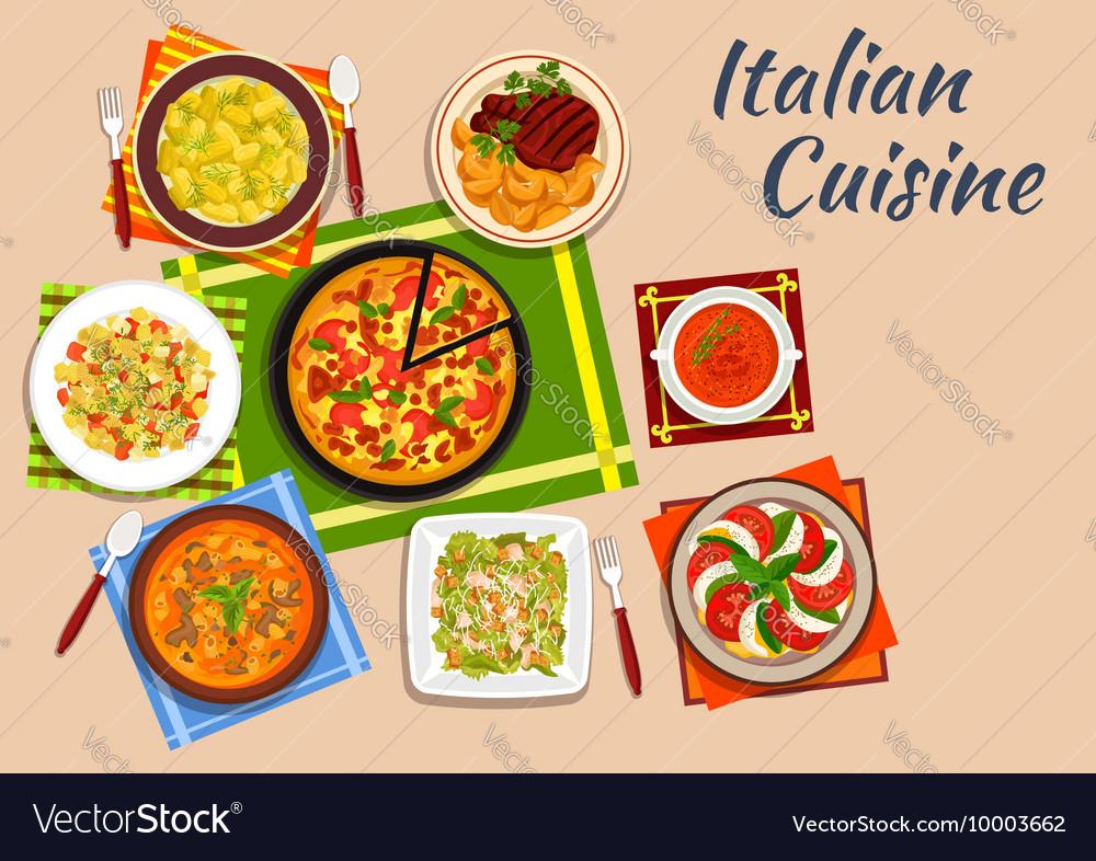 National italian cuisine menu dishes vector image