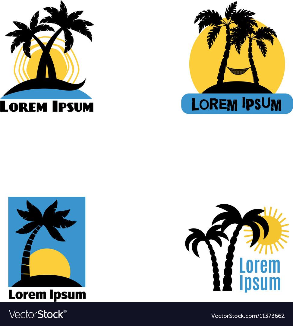 Palm tree logo set