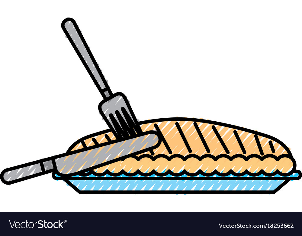 Pumpkin pie with fork knife food thanksgiving day