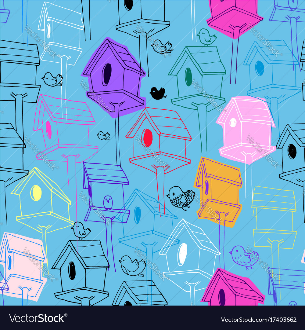 Seamless pattern with colorfil birdhouse on blue