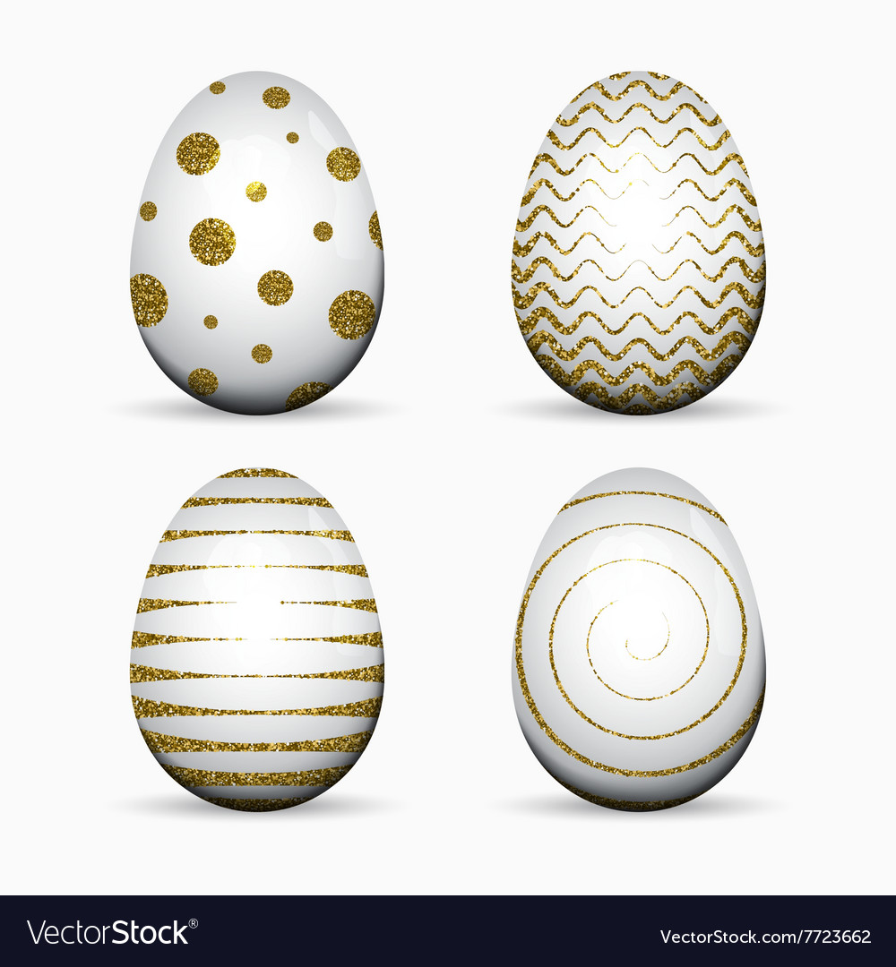 Set white easter eggs with gold glitter
