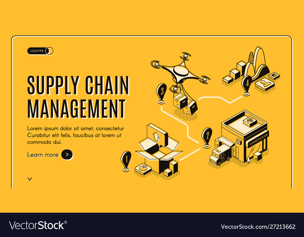 Supply chain management isometric landing banner vector