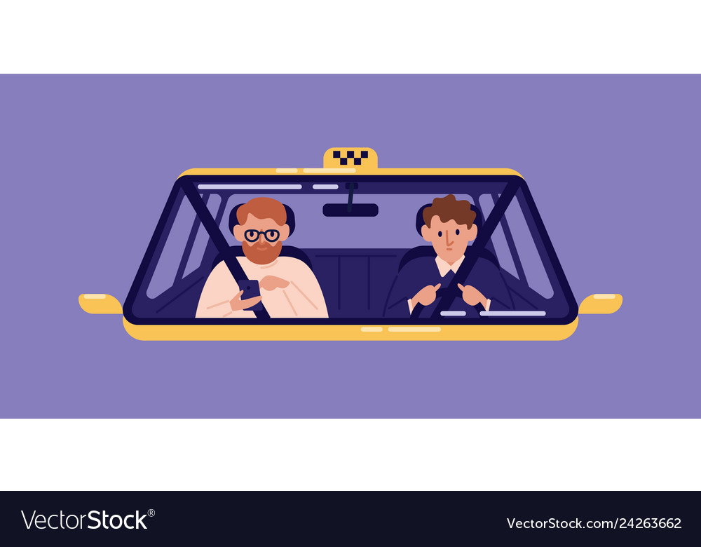 Taxi driver and bearded man sitting in front seat