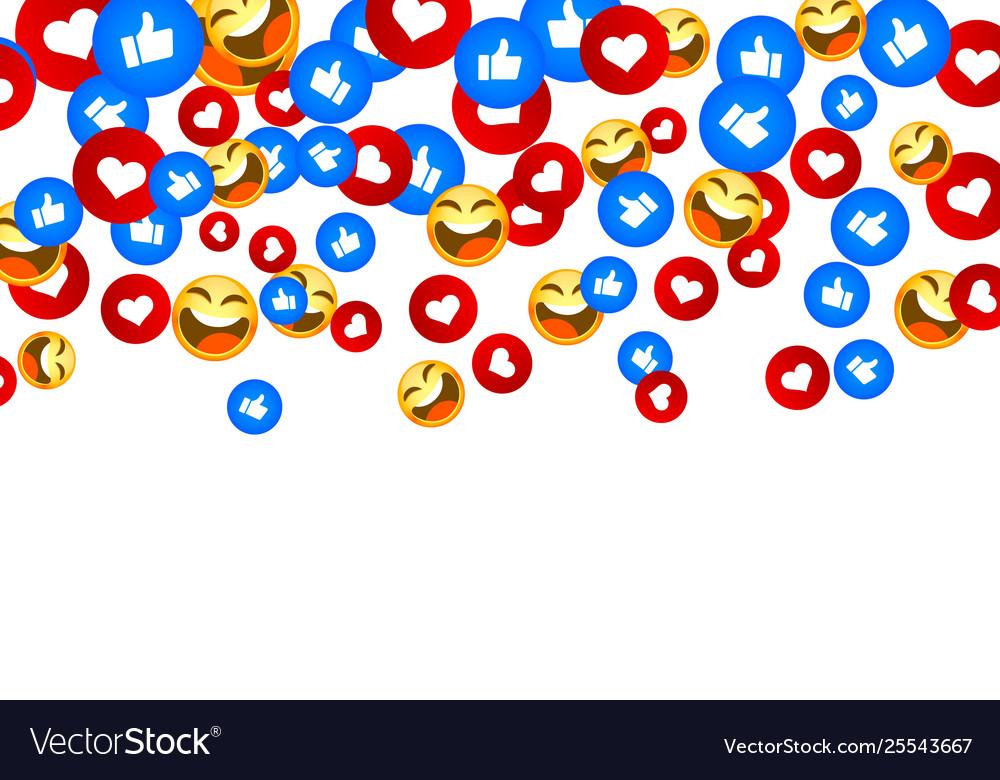 Banner fly like emoji hand social network white