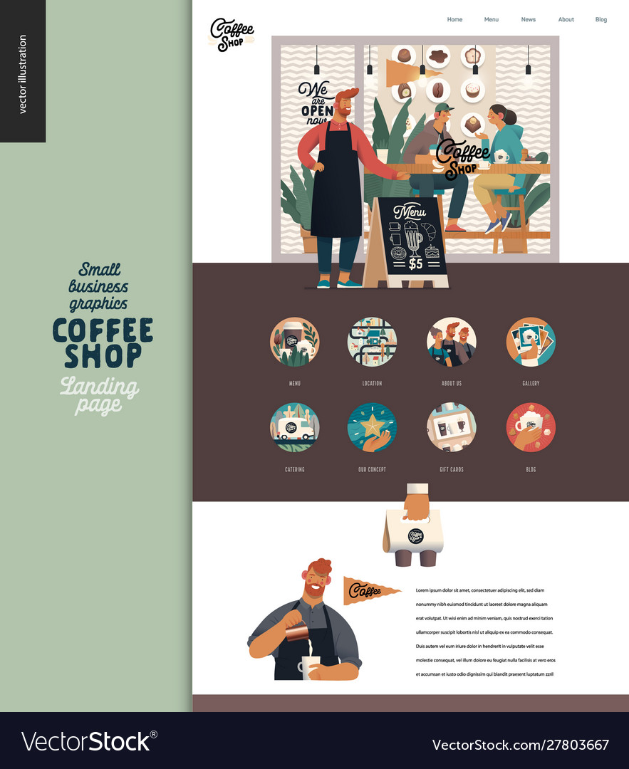 Coffee shop - small business graphics - landing