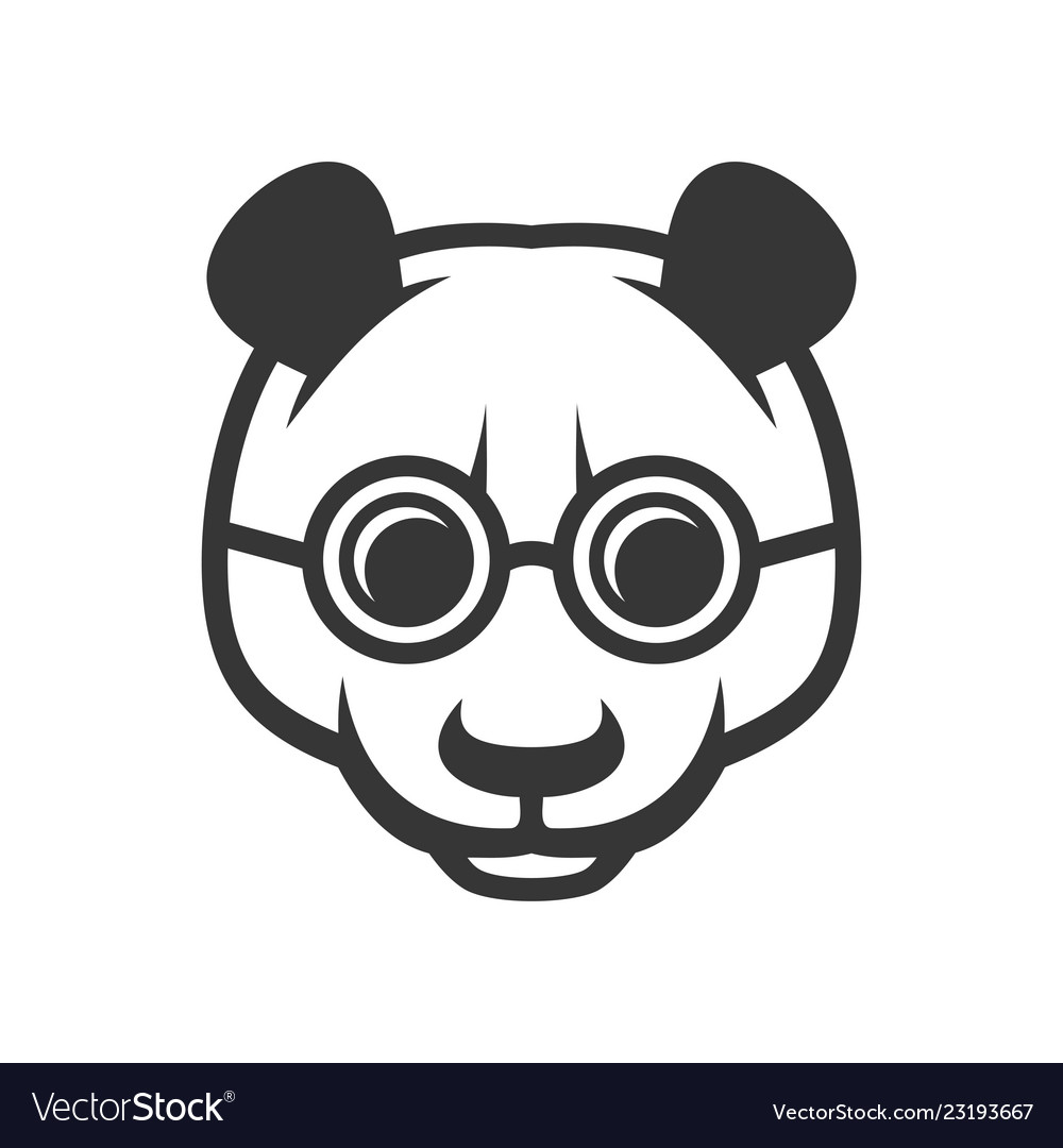 Cute panda face with glasses icon logo