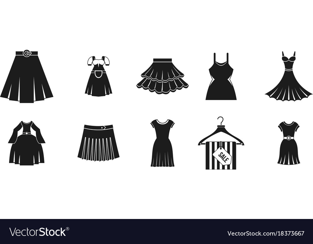 1d4717796ba076 Dress skirt icon set simple style Royalty Free Vector Image