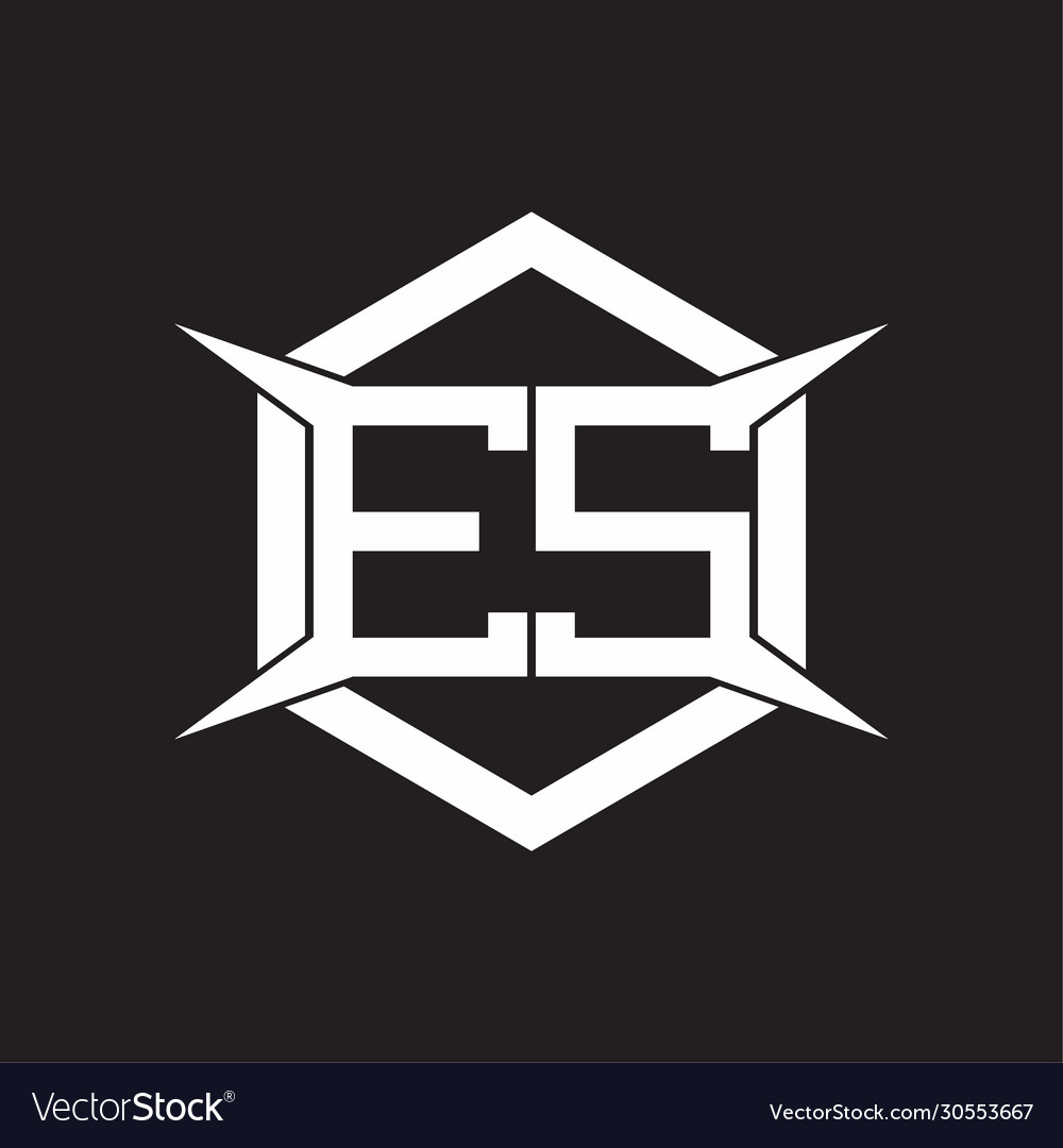 Es Logo Monogram With Hexagon And Four Taper Vector Image