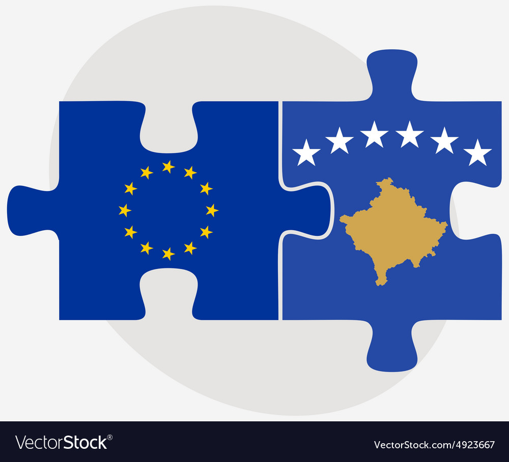 European Union And Kosovo Flags In Puzzle Vector Image