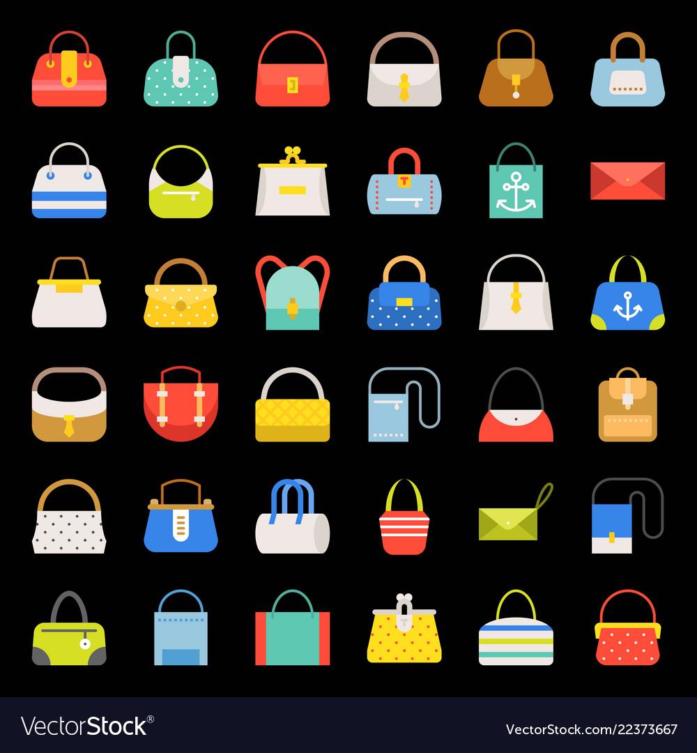 Fashion bag flat design icon in various style set