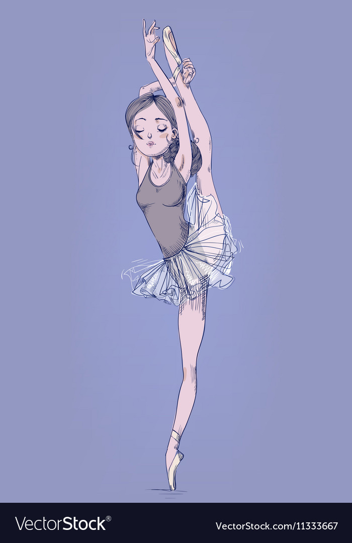 Hand drawn with ballerina girl vector image