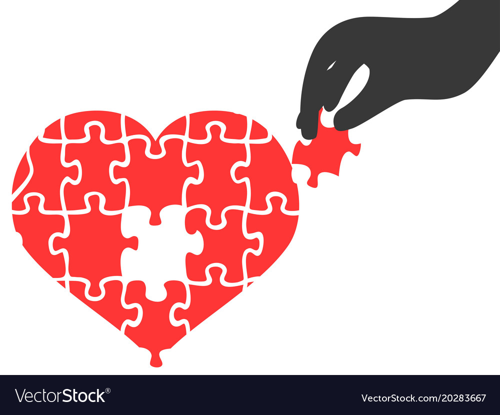 Hand took heart jigsaw puzzle piece Royalty Free Vector
