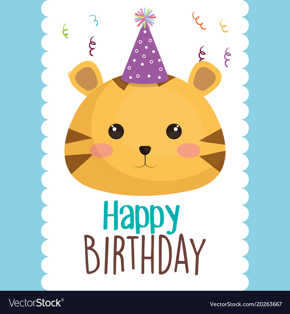 Happy Birthday Card With Cute Cat Character Vector Image