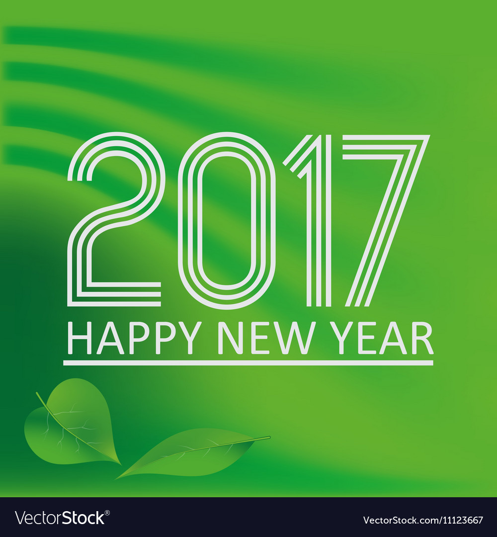 Happy new year 2017 on green abstract color vector image