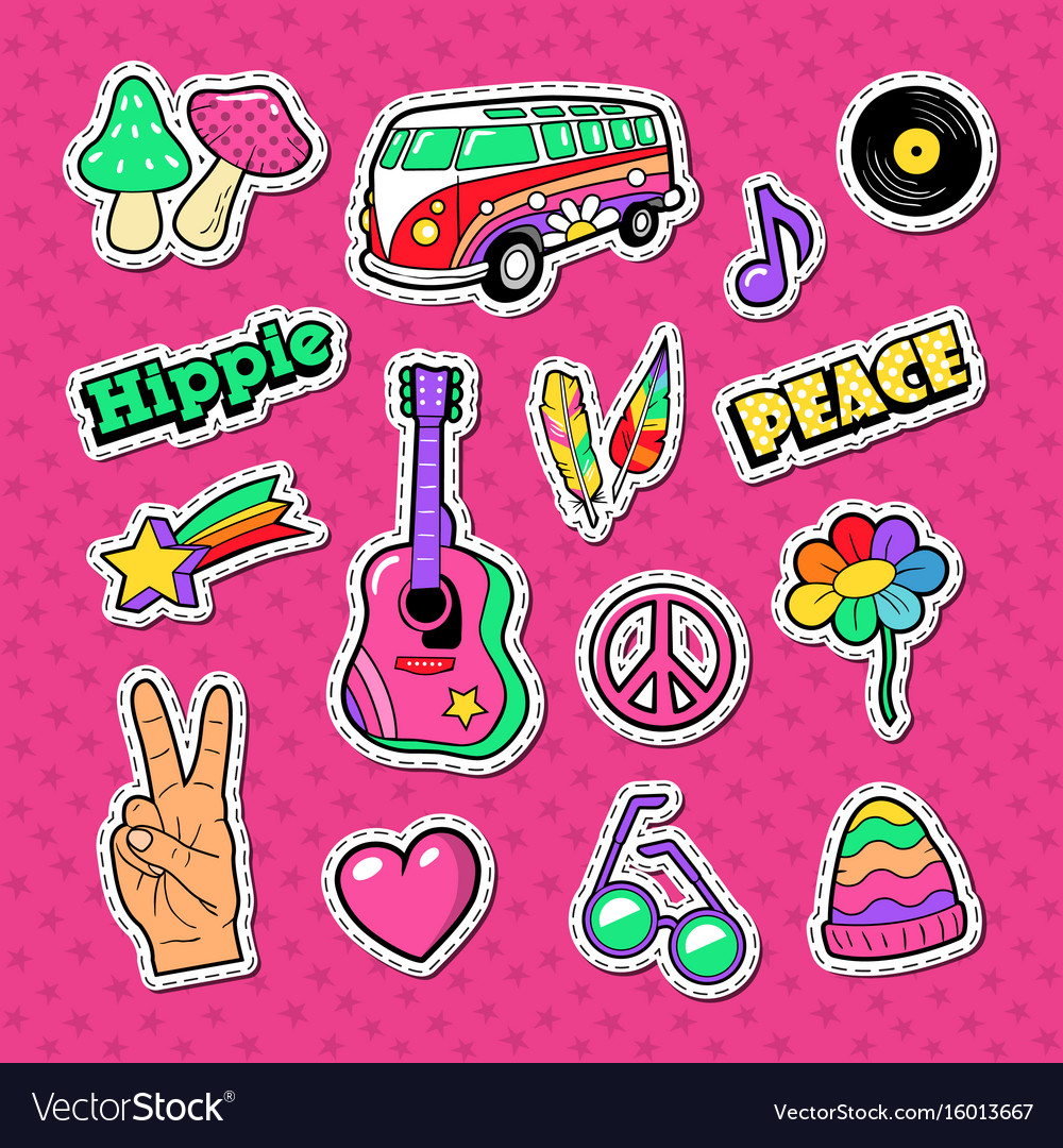 Hippie fashion doodle stickers badges